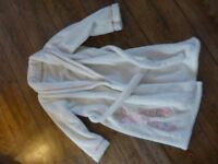 Lovely soft white glittery ballet shoe design dressing gown - age 6-7 & 7-8 years
