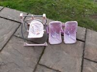2 toy baby carriers and swing for sale