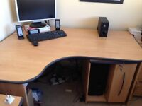 Large corner computer desk and pc caddy with cd drawer