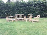 Genuine bamboo furniture, 1 sofa, 3 chairs and 3 tables. Some renovation required.