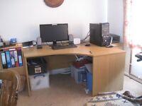 corner desk, right hand side, wood, good condition