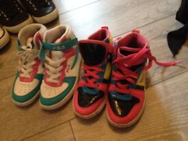 2 pairs of high tops size 3 & 2 pairs trainers size 13 please see both pics