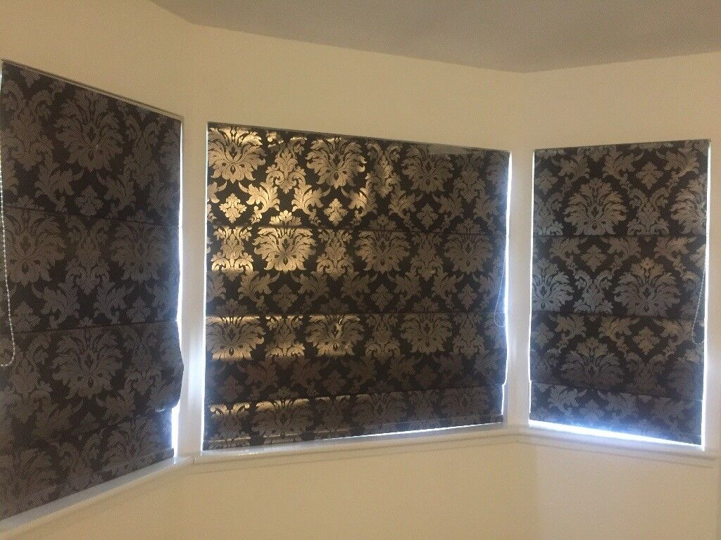 Black And Silver Damask Roman Blinds In Hamilton South
