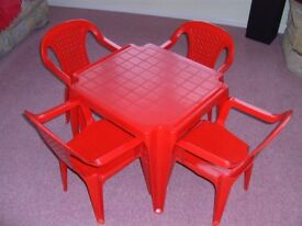 Red table and 4 chairs