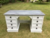 Hand painted solid pine large desk
