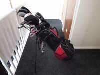 full set golf clubs stand bag and dunlop golf trolly