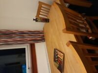Solid oak dining table 4 chairs