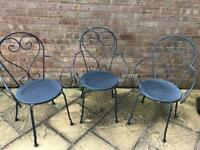 Garden metal chairs for sale x3