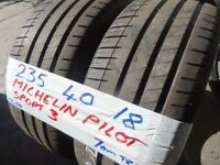 MATCHING PAIR 235 40 18 MICHELIN PILOT SPORT 3s 6MM TREAD £90 PAIR SUP & FITD OPEN 7DYS TILL 6PM