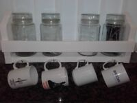 Wooden Kitchen Tidy ,Shelf Storage Unit With Cup hooks.