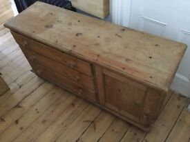 Earsham Pine Chest Of 3 Drawers With Cupboard