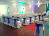Wedding Chair Covers for Hire 50 for £125 including sashes and set up, other decor also available