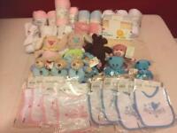 Job lot baby stuff - blankets bibs soft toys