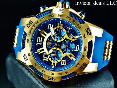 Invicta Men's 50mm SPEEDWAY VIPER II Chrono Sapphire Blue Tone 18K Gold IP Watch