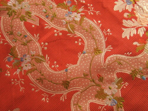30YD 100%Silk Lampas Basilica Crimson Red French Court Lace 8 Weeks