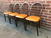 Vintage OAK Chesterfield Style Dining Chairs Ercol Style Hoop Back