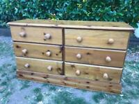 6 DRAWER SOLID PINE CHEST OF DRAWERS / SIDEBOARD - HEAVY