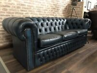 Chesterfield Club Sofa - Antique Blue