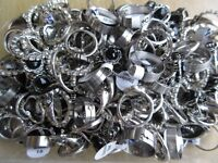 185 x RINGS Mixed Lot of Stainless Steel, Diamante & Tibetan Silver - NEW