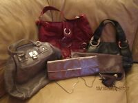 BUNDLE 5 LADIES/WOMANS HANDBAGS PVC RED/BLACK/BROWN/GREY SMALL/MEDIUM/LARGE
