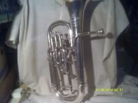 A TENOR HORN by BESSON ,The NEW STANDARD In SILVER PLATE with MOUTHPIECE & CASE +++