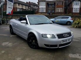 2005 AUDI A4 CABRIOLET 2.4 SPORT AUTO SILVER TOP SPEC XENONS LEATHERS ONYX WHEELS HPI CLEAR