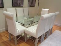 KesterPort Marble stone base glass table with 8 cream fabric matching chair set