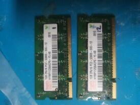 Hynix HYMP112S64CP6-Y5 2GB (2x1)kit PC2-5300S DDR2 667MHz laptop RAM SODIMM