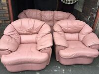 PINK LEATHER 3 SEATER SOFA WITH 2 ARM CHAIRS,CAN DELIVER