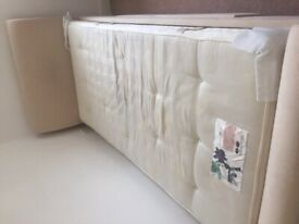 Single velvet bed and mattress with storage