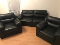 Black Leather 3 Piece Suite - Under 1 year old