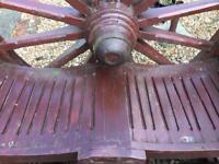 Unusual solid wooden garden cartwheel