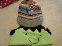 two baby boy hats 0-3 months