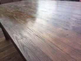 Over £1,000 new! - High Quality Solid Dark Teak Large 6 Seater Dining Table From Puji