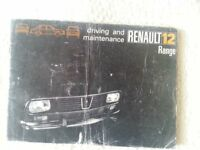 Renault 12 owners manual. Original Renault publication.