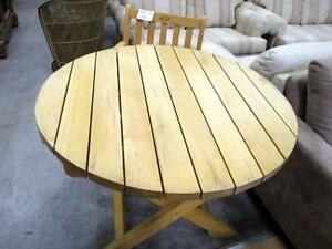 Solid Cedar Round Top Patio Folding Table - Used -