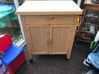 Kitchen trolley storage and prep block Pine