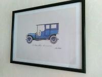 Framed, Glazed print of vintage car, watercolour