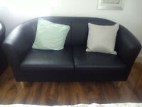 Black leather tub sofa 2 seater for sale