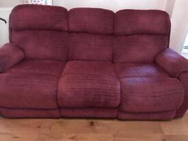 Recliner 3 seater sofa and 1 arm chair