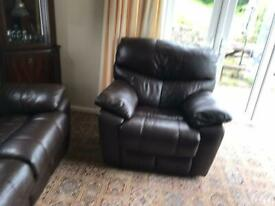 Leather recliner and 2 chairs