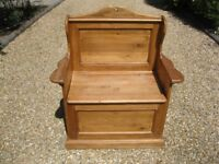 PINE MONKS BENCH / SETTLE WITH STORAGE. Delivery possible. Also: CHURCH PEWS, CHAPEL CHAIRS & TABLE.