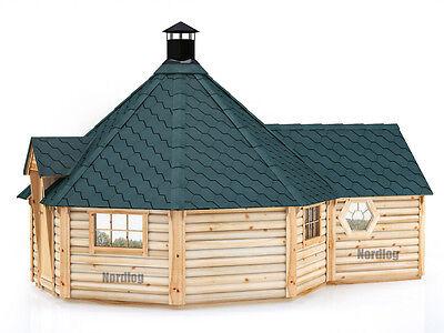 NordLog Grillkota 16,5m2 mit verlängter Saunaanbau Grillhaus Gartensauna Hütte