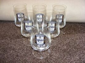 Set Of 6 Vintage Lowenbrau Pils Half Pint Stem Glasses.