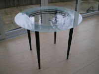 Round Glass~clear middle frosted outer~black metal frame Dining/Kitchen Table