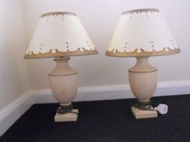 Matching Pair of Suzi Clayton decorative CREAM & GOLD Table/Side LAMPS-Lighting