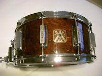 "Asama Percussion snare drum -14 x 6 1/2"" - Burlwood veneer - '80s Vintage - Star/Tama King Beat type"