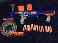 Blue nerf gun with 18 bullets