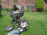 Bebecar combi Pram and pushchair with rain cover and travel bag.