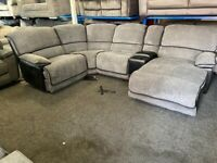 NEW - EX DISPLAY LazyBoy SPRINGFIELD RECLINER CORNER SOFA + CHAISE + MEDIA TRAY 70%Off RRP